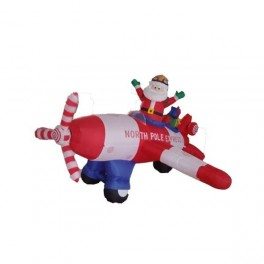 8 Foot Long Inflatable Animated Santa Claus Flying an Airplane