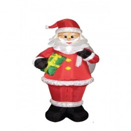 8 Foot Inflatable Santa Claus Holding a Gift