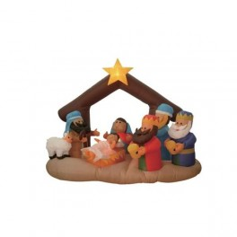 5 Foot Long Inflatable Nativity Scene with Three Kings