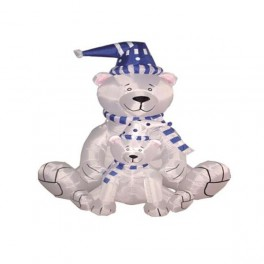 6 Foot Christmas Inflatable 2 Polar Bears with Blue Scarf Blow up Yard Decoration