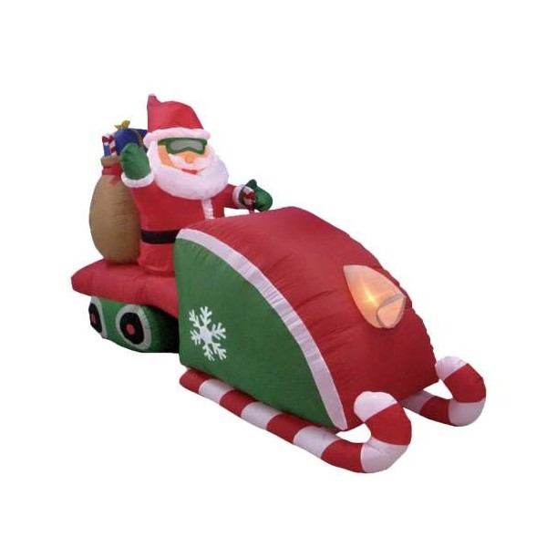 Foot inflatable santa claus driving snowmobile w gifts