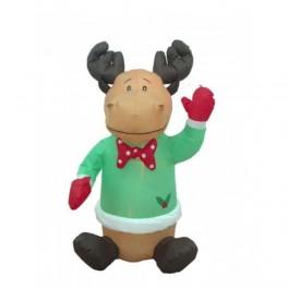 4 Foot Christmas Blow up Cute Sitting Reindeer w/ Holly
