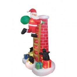 8.5 Foot Inflatable Santa Claus Climbing Chimney w/ Penguins Watching