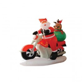 6 Foot Long Inflatable Santa Claus & Reindeer Riding Motorcycle