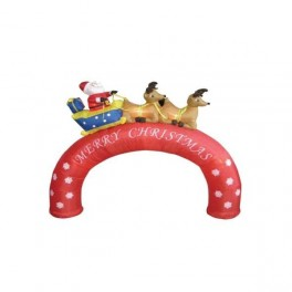 8 Foot Long Inflatable Arch with Santa Claus in Sleigh w/ Reindeer