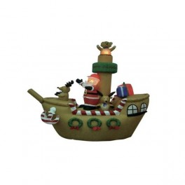 8 Foot Inflatable Santa Claus with Reindeer & Gifts on Pirate Ship