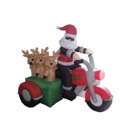 6 Foot Long Inflatable Santa Claus and 3 Reindeer in a Motorcycle