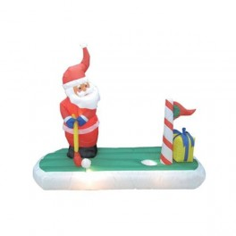 5 Foot Long Inflatable Santa Claus Playing Golf
