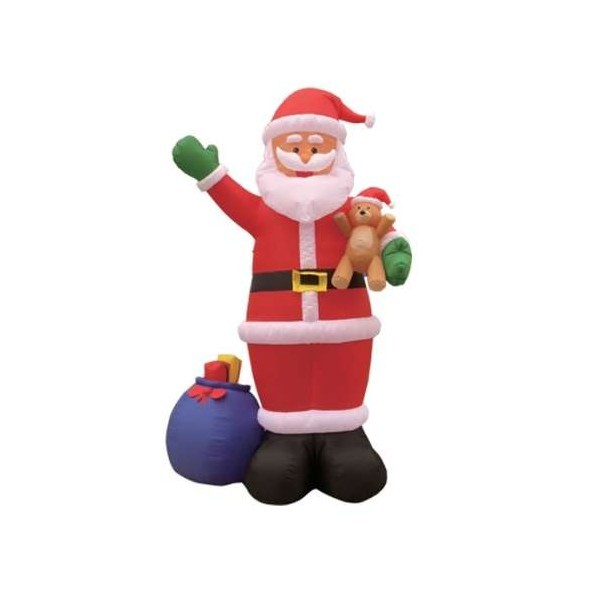 Foot inflatable santa claus holding bear