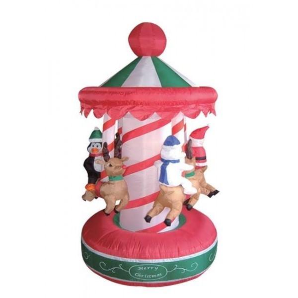 Foot animated christmas inflatable rotating carousel