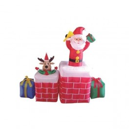 5 Foot Long Animated Inflatable Santa Claus & Reindeer Popup from Chimney