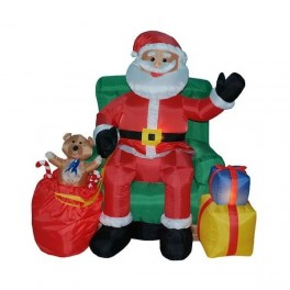 5 Foot Musical Animated Inflatable Santa Claus in Green Sofa
