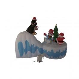 8 Foot Long Inflatable Santa Claus, Penguin and Snowman Skiing