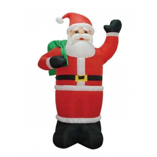 Foot inflatable santa claus holding gift bag