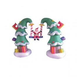 7 Foot Inflatable Santa Claus Swinging on 2 Christmas Trees