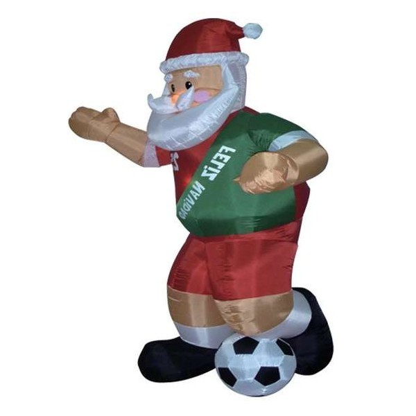 Foot inflatable santa claus playing soccer