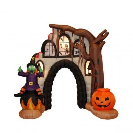 8.5 Foot Inflatable Witch & Pumpkin in Front of Haunted House Arch