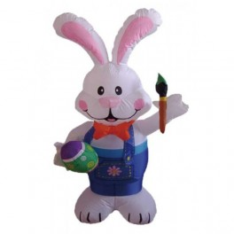 4 Foot Easter Inflatable Bunny Holding Color Pen