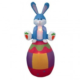 6 Foot Easter Inflatable Bunny Sitting on Color Egg