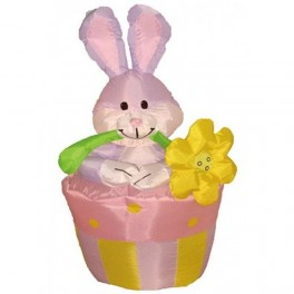 4 Foot Inflatable Easter Bunny on Flowerpot