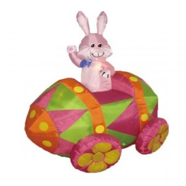 6 Foot Inflatable Easter Bunny in Egg Car