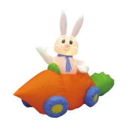 6 Foot Long Inflatable Easter Bunny in Carrot Car