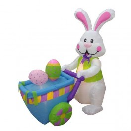6 Foot Inflatable Easter Bunny Pushing Cart w/ Eggs