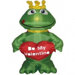 4 Foot Valentine's Day Inflatable Frog with Heart