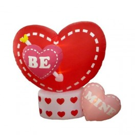 8 Foot Animated Inflatable Valentine's Day Hearts w/ Large Rotating Heart
