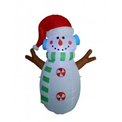 4 Foot Tall Lighted Inflatable Snowman Indoor Outdoor Yard Decoration